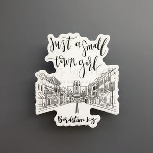 Bardstown Main Street Sticker (B&W) - Doodles by Rebekah