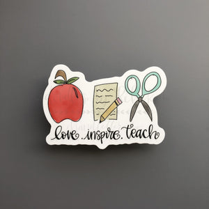 Love. Inspire. Teach. Sticker - Doodles by Rebekah