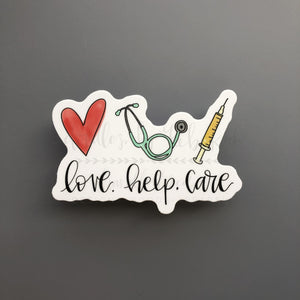 Love. Help. Care. Sticker - Doodles by Rebekah
