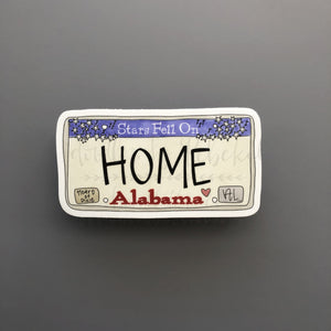 Alabama License Plate Sticker - Doodles by Rebekah