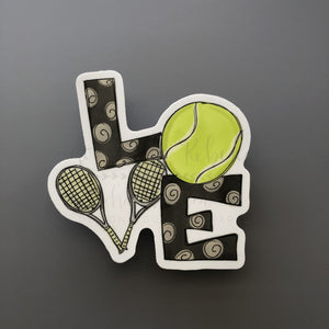 LOVE Tennis Sticker - Doodles by Rebekah