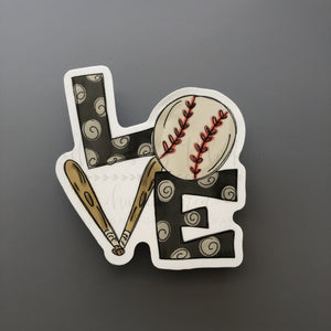 LOVE Baseball Sticker - Doodles by Rebekah