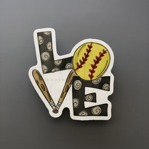 LOVE Softball Sticker - Doodles by Rebekah
