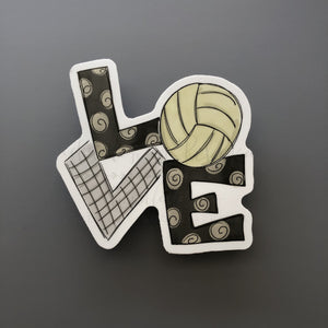 LOVE Volleyball Sticker - Doodles by Rebekah