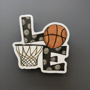 LOVE Basketball Sticker - Doodles by Rebekah