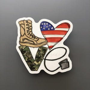 LOVE Military Sticker - Doodles by Rebekah
