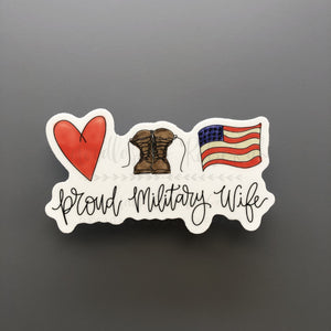 Proud Military Wife Sticker - Doodles by Rebekah