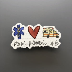 Proud Paramedic Wife Sticker - Doodles by Rebekah