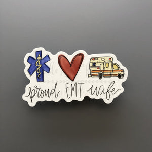 Proud EMT Wife Sticker - Doodles by Rebekah