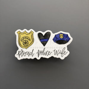 Proud Police Wife Sticker - Doodles by Rebekah