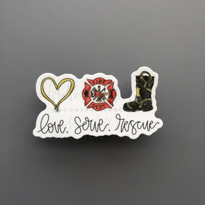Love. Serve. Rescue Sticker - Doodles by Rebekah