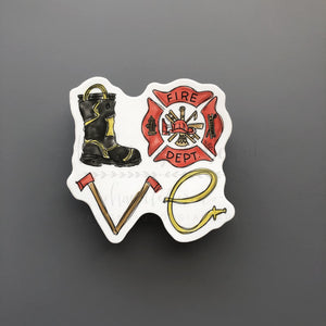 LOVE Firefighter Sticker - Doodles by Rebekah