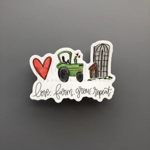 Love. Farm. Grow. Repeat Sticker - Doodles by Rebekah