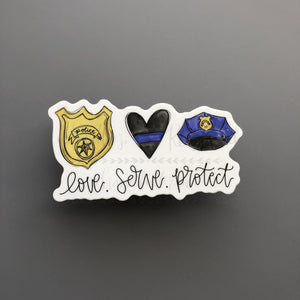 Love. Serve. Protect Sticker - Doodles by Rebekah