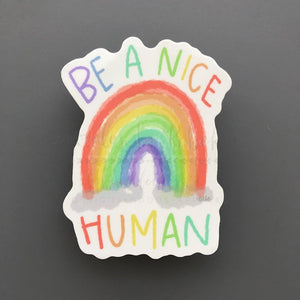 Be A Nice Human Sticker - Doodles by Rebekah