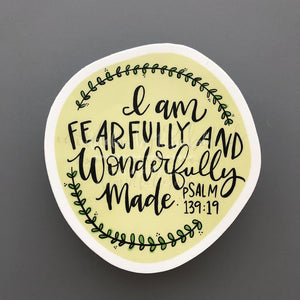 I Am Fearfully and Wonderfully Made Sticker - Doodles by Rebekah