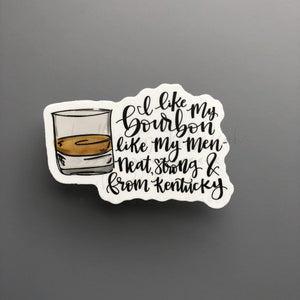 I Like My Bourbon Like My Men Sticker - Doodles by Rebekah