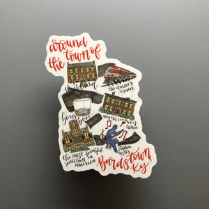 Around The Town Of Bardstown, KY Sticker - Doodles by Rebekah