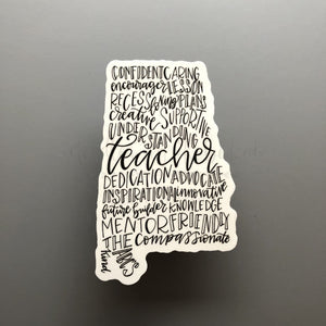 Alabama Teacher Word Art Sticker - Doodles by Rebekah