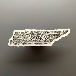 Tennessee Teacher Word Art Sticker - Doodles by Rebekah