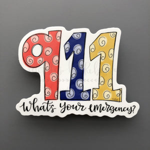 911 What's Your Emergency Sticker - Doodles by Rebekah