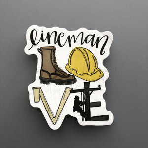 LOVE Lineman Sticker - Doodles by Rebekah