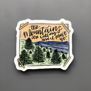 The Mountains Are Calling Sticker - Doodles by Rebekah