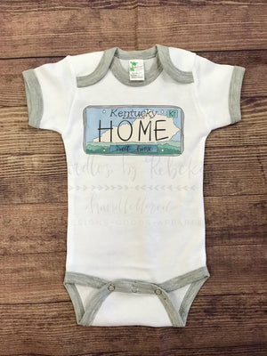 Kentucky License Plate Bodysuit - Doodles by Rebekah