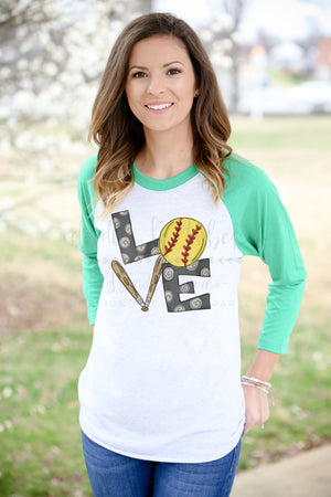 LOVE Softball Raglan - Doodles by Rebekah