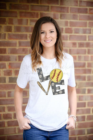 LOVE Softball Tee - Doodles by Rebekah
