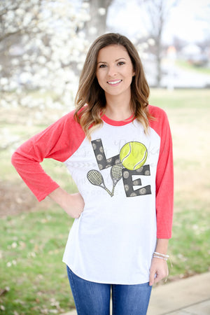 LOVE Tennis Raglan - Doodles by Rebekah
