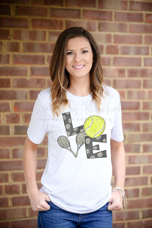 LOVE Tennis Tee - Doodles by Rebekah