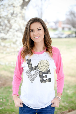 LOVE Volleyball Raglan - Doodles by Rebekah