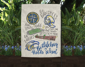 Bethlehem High School Pride Garden Flag - Doodles by Rebekah