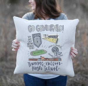 Thomas Nelson High School Pride Square Pillow - Pillow