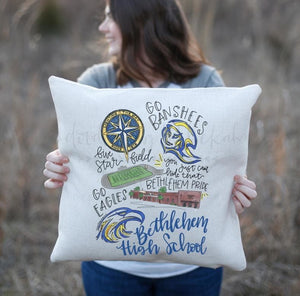 Bethlehem High School Pride Pillow - Doodles by Rebekah