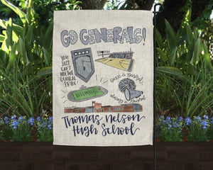 Thomas Nelson High School Pride Garden Flag - Doodles by Rebekah