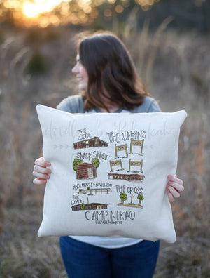 Camp Nikao Square Pillow - Pillow