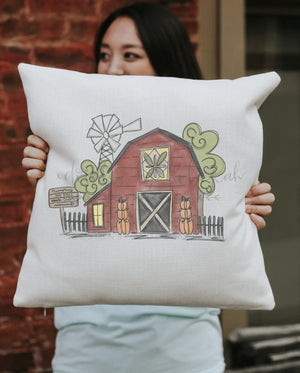 Fall Barn Square Pillow - Pillow