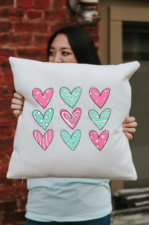 Aqua Hearts Square Pillow - Pillow