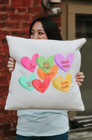 Candy Hearts Square Pillow - Pillow