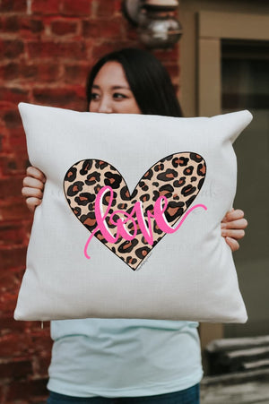 Leopard Print Heart Square Pillow - Pillow