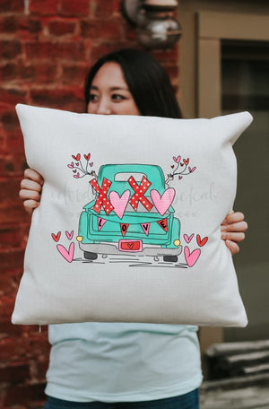 LOVE Truck Square Pillow - Pillow