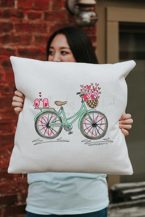 Valentine's Bike Square Pillow - Pillow