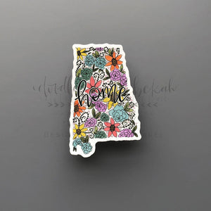 Alabama Floral Home Sticker - Doodles by Rebekah