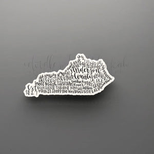 Anderson County, KY Word Art Sticker - Doodles by Rebekah
