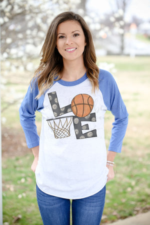 LOVE Basketball Raglan - Doodles by Rebekah