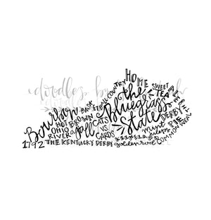 Kentucky Word Art Tee - Doodles by Rebekah