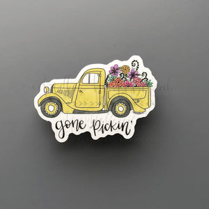 Gone Pickin' Flowers Sticker - Doodles by Rebekah