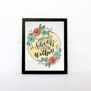 Happiness Blooms From Within 8x10 Print - Doodles by Rebekah